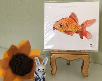 Mini original watercolor painting of a rude goldfish. Small original artwork fish the perfect lighthearted gift. Wildlife art home decor