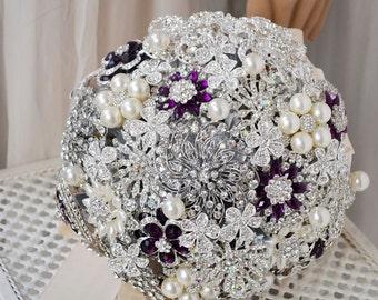 wedding brooch bouquet silver purple