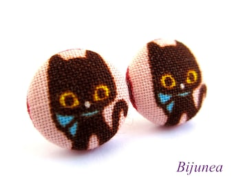 Cat earrings - Black cat earrings - Cat stud earrings - Black cat posts - Black cat post earrings - Cat studs sf779