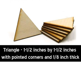Unfinished Wood Triangle with pointed corners - 1-1/2 tall by 1-1/2 inch wide with 1/8 inch thick wooden pieces (TRIA45)