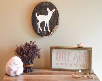 Rustic deer wall decor, woodland nursery