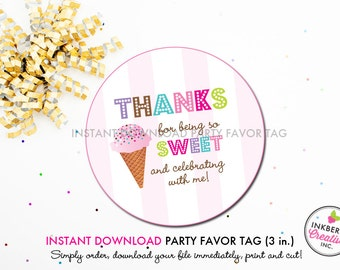 Ice Cream Shoppe - Printable 3 inch Birthday Party Favor Tags - Instant Download PDF File