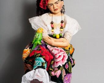 """FRIDA KAHLO Doll- Award- winning One-of-a-Kind Artist Doll by Lynn Cartwright - 36 1/2"""""""