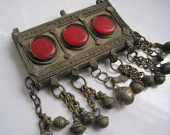 Bedouin Amulet - Pendant from Saudi Arabia - Metal and Red Glass Hirz or Prayer Box - Tribal Jewelry