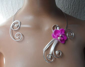 Flowers for bride or witness - silver ivory necklace and fuchsia