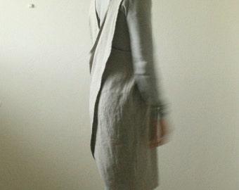 NATURAL LINEN PINAFORE / linen dress / women linen clothing / cafe apron / criss cross / smock / tunic / made in australia / pamelatang
