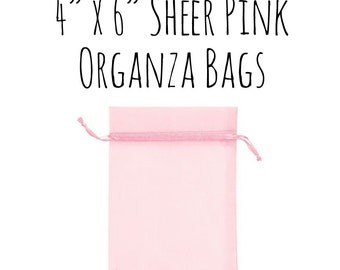 """10 or 25 Pack of 4 x 6"""" Rectangle Sheer Pink Drawstring Ribbon Organza Bags, Wedding Favors, Gift Bags, Candy Bags, pale pink, Wedding"""