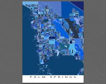 Palm Springs Map, Palm Springs Art Print, California City Map