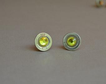 410 Shotgun Shell Bullet Earrings Stud with Citrine Crystals