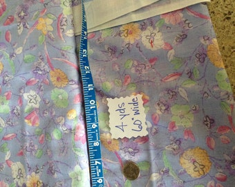 Vintage Cotton Floral Print with Lavender Background, 4 yds x 60 inches wide