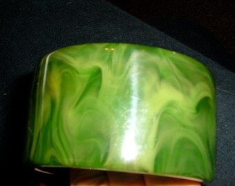 massive vintage marbled green bakelite bangle bracelet as is HUGE SALE