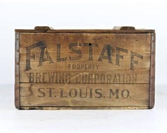 Vintage Beer Crate Falstaff Beer Crate Wood Beer Crate 1935 Falstaff Beer Crate Old Beer Crate Breweriana Wooden Beer Crate Vintage Beer