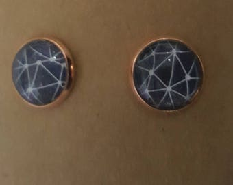 12mm Rose Gold Colour Black and White Stud Earrings