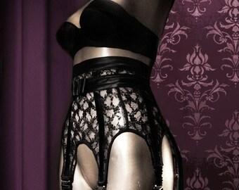 Dark Ladies Wear   MARLENE Antique Lace 6, 8 or 10 Strap Suspender Garter  Belt