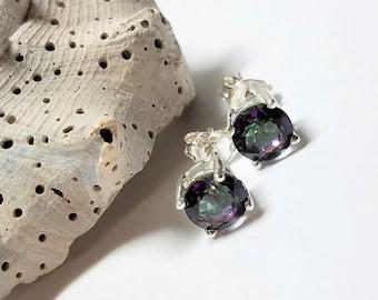 Sophisticated, Sweet, Elegant Multi-Colored Mystic Quartz Semi-Precious Gem Stone Post/Stud Earrings #325