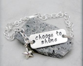 Inspirational Bracelet, Sterling Silver, Handstamped, Graduation, Star Bracelet, Charm Bracelet, Chain, Star Jewelry, Choose to Shine