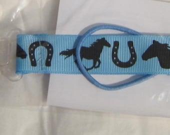 Handmade Horse Pacifier Clip Horses on Light Blue Grosgrain Ribbon