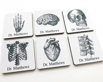 Personalized Coasters Medical School Student Graduation anatomy gift doctor nurse practitioner physician assistant custom name thank you pa