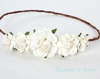 White Flower Crown Headband, flower girl headband, Flower girl flower crown, Flower Wreath, White Flower Headband, First Communion Headband