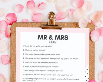 HEN PARTY GAME - Instant Download - Mr & Mrs Quiz - Printable
