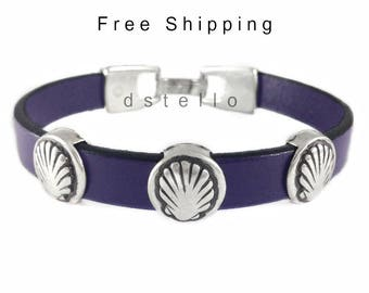 Fathers day gifts, Scallop shell leather bracelet, Way of St. James bracelet, Souvenir Camino de Santiago, Pilgrim ways gift, Custom made