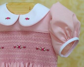 Mauve smocked dress with or without bloomer, smocked dress baby girl, hand smocking dresss for babies, imperial batiste, smocking dress