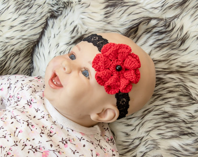 Ready to ship - Black and red headband - Flower Headband - Baby Headband - Crochet Flower-  Girls Headband- Baby Photo Prop- Baby girl gift