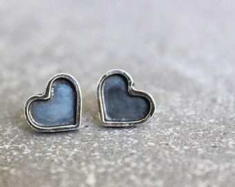 Silver stud earrings, sterling silver heart studs, heart stud earrings, oxidized silver jewelry
