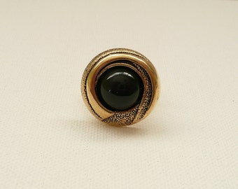 nr-Black and Gold Plate Vintage Look Button Adjustable Ring