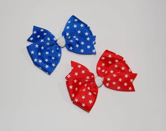 Simple pigtail pinwheel hairbows patriotic bows star hairbows