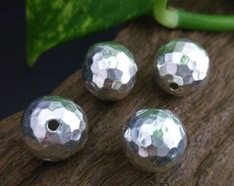 Handmade Silver Beads,Hammered Ball Beads,Approx: 14mm.dia.,2 pcs.