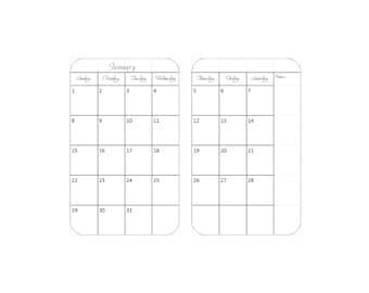 PRINTED Monthly Calendar, Traveler's Notebook / Fauxdori Insert 2018 &2019