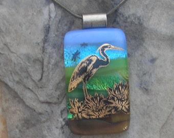 Heron Dichroic Fused Glass Pendant Heron Necklace