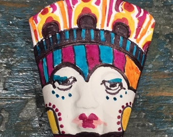 tribal clay face jewelry craft supplies  mask handmade cabochon   polymer clay  findings   doll parts head mask stripes tribal
