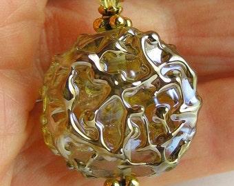 """Mojito lampwork pendant necklace...Mojito lampwork bead necklace...Green lampwork bead necklace...""""Mojito Sparkler"""""""
