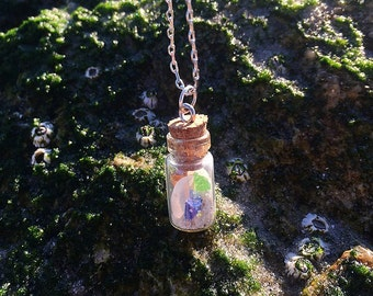 Seaglass in a Bottle Necklace