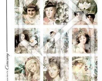 Women in Pastel 2x2 Inch Digital Collage Print Sheet no63