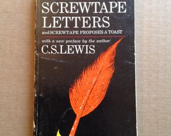 The Screwtape Letters by C.S. Lewis, Vintage Book, 1968, Paperback Book, Screwtape Proposes a Toast, Macmillan, Classic, Reader Gift