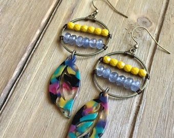 Boho earrings, dangle earrings, gemstone jewelry, bohemian, gypsy, beaded earrings, beaded hoops, feather earrings, colorful earrings, artsy