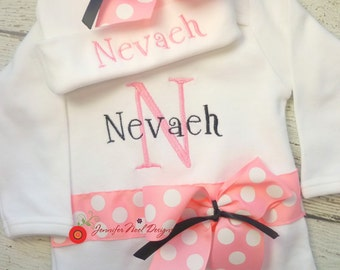 Newborn name gown, name hat for baby, Personalized Girls Coming Home Outfit, Take home outfit, pink and black, first photo hat for girls