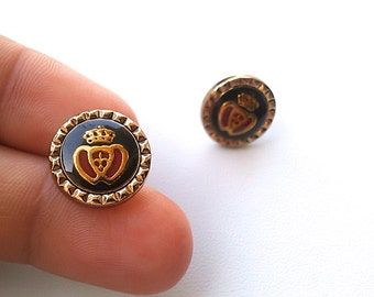 ROYAL HEARTS 24k Gold Plated Vintage Stud Earrings. FAST Shipping with Tracking for Domestic Buyers. Gift Box & Ribbon Included.