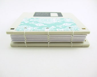 Off White Floppy Disk Notebook - Coptic Stitch Binding, recycled, coptic book, teal and white, to do notepad, journal diary