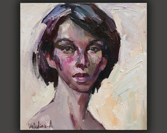 Lady portrait painting Woman face painting Oil painting Original Female portrait Girl Impasto painting Modern Impressionism Oil on canvas
