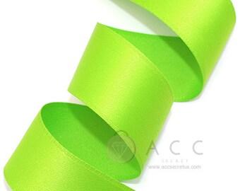 5Yards Yellow Green Single Faced Satin Ribbon - 10mm(3/8''), 15mm(5/8''), 25mm(1''), and 40mm(1 1/2'') - Semi Gloss Flat Satin