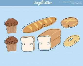 Whimsical Bakery Clipart Bread Muffins Roll Bagel Clip Art - Instant Download