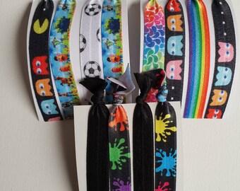 Mixed hair tie elastics - 3 sets of 4 large- black & rainbow mix - paint splatter, Pac man, soccer, rainbow