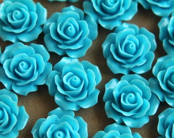 CLOSEOUT - 20 pc. Sky Blue Crisp Petal Rose Cabochons 18mm | RES-062
