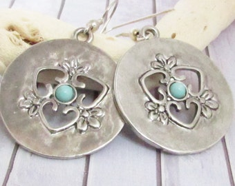 Silver Disc Earrings, Dangle Earrings, Gypsy Earrings, Boho Earrings, Bohemian Earrings, Large Dangle Earrings, Gypsy Jewelry, Gift Under 20