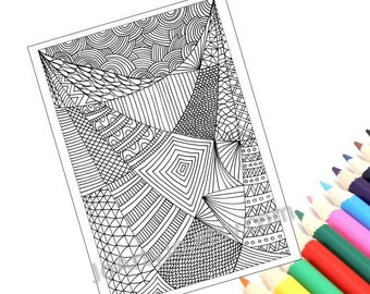 Printable Coloring Page, Zentangle Inspired Coloring Pattern, Page 26