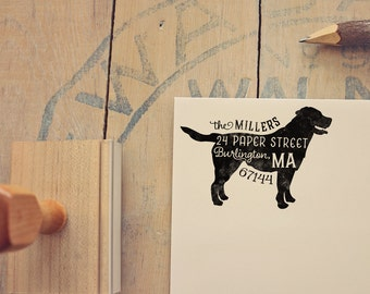 Labrador Retriever Return Address Stamp, Housewarming & Dog Lover Gift, Personalized Rubber Stamp, Wood Handle, Yellow or Black Lab Stamp